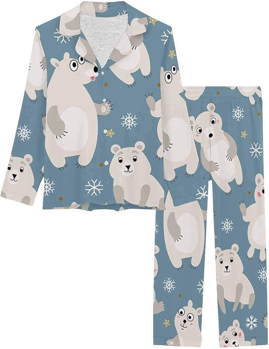 InterestPrint Long Sleeve Nightwear Button Down Loungewear for Women Polar Bear Arctic Animals