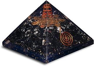 PREK Black Tourmaline Chakra Symbol Orgone Pyramid with for & Size: 3-3.5 Inch