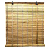 Solagua 6 Modelos 14 Medidas de estores de bambú Cortina de Madera persiana Enrollable (150 x 175 cm, Marrón)