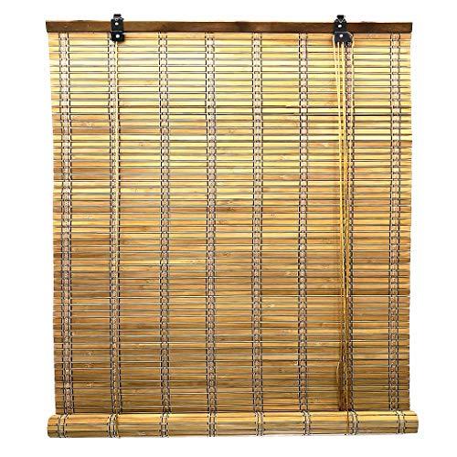 Solagua 6 Modelos 14 Medidas de estores de bambú Cortina de Madera persiana Enrollable (110 x 135 cm, Marrón)