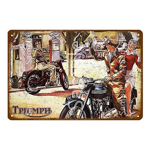 Retro motocicleta Metal cartel de chapa Bar café garaje placa de hierro cartel hogar pared pegatina decoración 20x30 cm YD14436K
