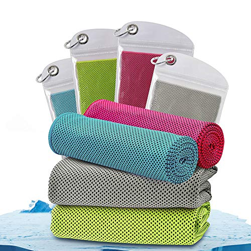 """Beanlieve 4 Pack Cooling Towels , Instant Chilling Microfiber Breathable Chilly Towel, 40""""x12"""" Ice Towel With Travel Bag & Carabiner, Cool Towel For Yoga Sport Running Golf Gym Workout"""