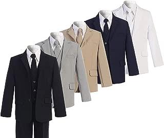 BANHADA Toddler Boys Formal 6 Piece Slim Fit Suit Set with Matching Necktie