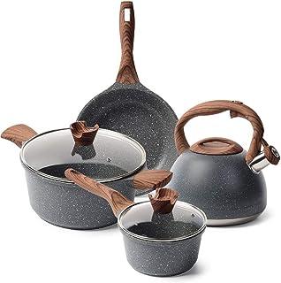 Caannasweis Nonstick Kitchen Cookware Set, Pots and Pans Set Includes Nonstick Frying Pan, Saucepan, Cooking Pots Casserol...