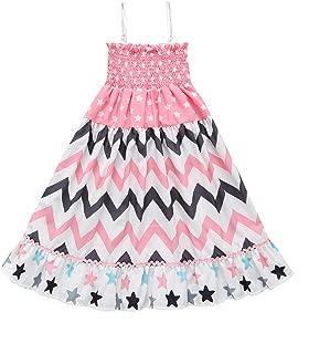 Kids Toddler Baby Girls Ruffle Suspenders Pentagram Print Straps Beachwear Boho Long Maxi Skirt Summer Dress Outfits