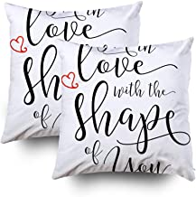 Musesh Kids Pillow Case, 18X18 Set of 2 I39M in Love with The Shape of You Calligraphy Typography Design Music Lyrics Poster with Throw Pillow Covers Cusion for Bed,Sofa,Car