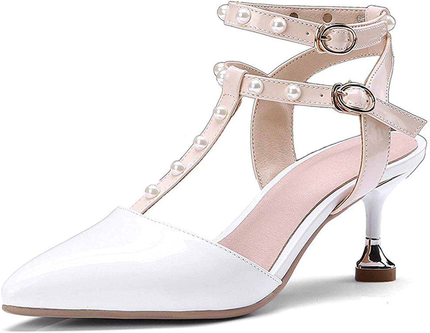 Gcanwea Women's Sexy Pointed Toe Beaded Buckle Ankle Strap Kitten Heel Sandals White 9 M US
