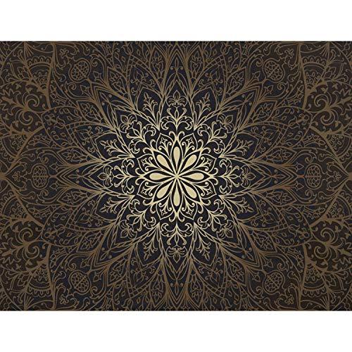 Fototapete Mandala Orientalisch 352 x 250 cm Vlies Tapeten Wandtapete XXL Moderne Wanddeko Wohnzimmer Schlafzimmer Büro Flur Braun Gold 9093011a