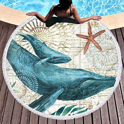 Toalla de playa redonda, manta gruesa de gran tamaño, tela de microfibra con flecos de borlas, tapiz con estampado de animales marinos de ballenas verde azulado extragrande, alfombra de campamento sin