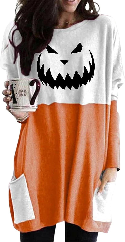 felwors Womens Halloween Sweatshirt, Womens Loose Long Sleeve Pumpkin Cat Print Tops Oversized T Shirts with Pockets