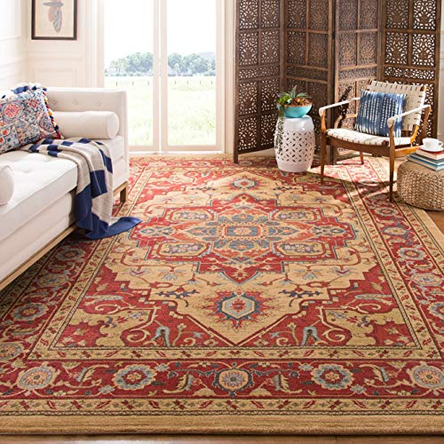 Safavieh Mahal Collection MAH698A Traditional Oriental Red and Natural Area Rug (11' x 15')
