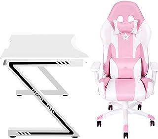 Silla de Juego ergonómica Rosa Linda Kawaii Style Silla de Oficina PU Cuero High Back Racing Silla de computadora