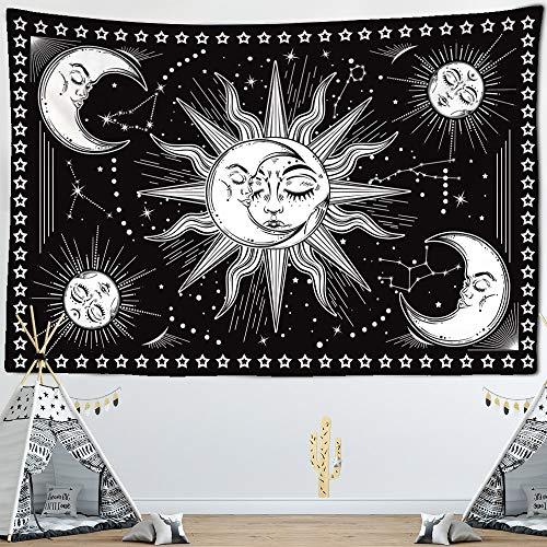 WERT Tapiz con Estampado de Mandala Multicolor, Tapiz de Tela de Fondo para decoración de Dormitorio de Pared India A19 180x200cm