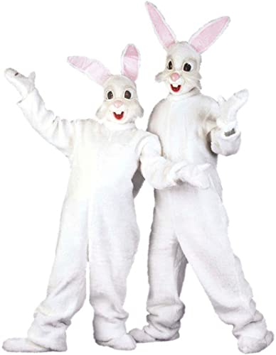 NET TOYS Hasen Kostüm Bunny Ganz kostüm Plüsch Hasenkostüm aus Plüsch Kaninchen Kigurumi Jumpsuit Plüschkostüm Ostern Tierkostüm Maskottchen Verkleidung