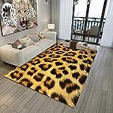Alfombra Salon Patrón De Leopardo Marrón Alfombras de Habitacion Vinilica Salón Moderno de Pelo CortoTamaño Rectangular Suave al Tacto para Dormitorio Habitacion 200x290cm