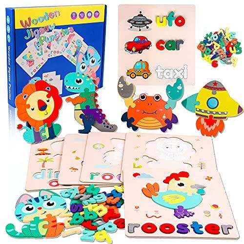 SPECOOL Puzzles de Madera niños Juegos de ortografía 6 Piezas 3D Rompecabezas de Madera Animales 52 Letras de Madera con Tarjeta cognitiva de Doble Cara Juguetes Montessori para niños de 3 a 6 años