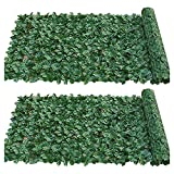 JJSCHMRC - Schermo per recinzione di edera artificiale, 50 x 100 cm, per siepi artificiali e foglie di edera, decorazione per giardino, protezione per la privacy (3,2 pezzi)