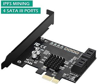 MZHOU Chipset Marvell de la Tarjeta adaptadora de 4 Puertos PCIe 2.0 x 1 a SATA III sin Raid para la extracción de IPFS y la adición de Dispositivos SATA 3.0