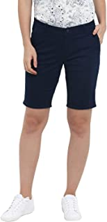 KVL Womens Cotton & Elastane Woven Regular Fit Solid Bermuda Shorts - Navy