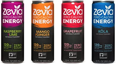 Zevia Zero Calorie Energy Drink, Variety Pack, 12 Ounce (Pack of 12) Packaging May Vary