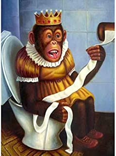 キャンバスアート壁ポスター 漫画の猿のトイレ 海报 绘画 帆布艺术 室内装饰 壁挂 墙壁海报 HD时尚海报
