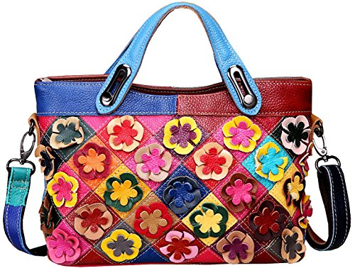 Double top handle with zippered closure. Designer by many candy color flowers decorations. High quality tarnish hardware and luxury durable polyester lining for this bag. Interior cell phone pocket and small side zipper pocket,Exterior rear zipper po...