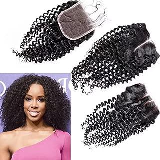 8A Peruvian Deep Kinky Curly Lace Closure 4x4 Virgin Human Hair 3/Three Part Cheap Swiss Lace Closures Bleached Knots 12