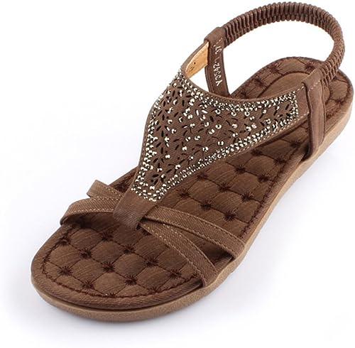 HAIZHEN chaussures pour femmes Sandales été Comfort PU Casual Talon plat Marron Beige Pour femmes (Couleur   Marron, taille   EU38 UK5.5 CN38)