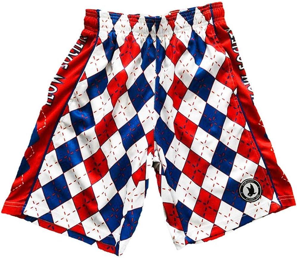 Flow Society Boys' Red, White, & Blue Argyle Shorts - Boys Athletic Shorts