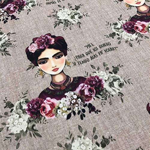 Tela por metros de loneta estampada digital - Half Panamá 100% algodón - Ancho 280 cm - Largo a elección de 50 en 50 cm   Frida Kahlo - Marrón, morado, blanco