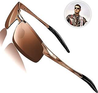 ROCKNIGHT Driving Polarized Sunglasses for Men UV Protection Ultra Lightweight Al Mg Golf Fishing Sports Sunglasses for Medium&Big Head