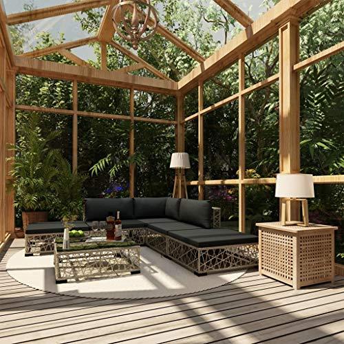 Festnight 6-TLG. Garten-Lounge-Set mit Auflagen Lounge Sitzgruppe Sitzgarnitur Gartengarnitur Gartenset Gartensofa Fußhocker Poly Rattan Grau