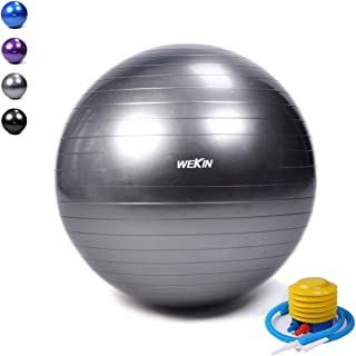 Wekin Anti-Burst Exercise Ball,Office Ball Chair, Balance Trainer Ball, Birthing Ball with Pump for Fitness, Stability&Yoga, Extra Thick 400g Heavier Than Other Same Size,2000lbs (Office and Home)