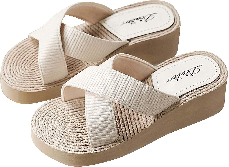 PVCS Summer Sandals for Women Wide Cross Cross Slides Imitation