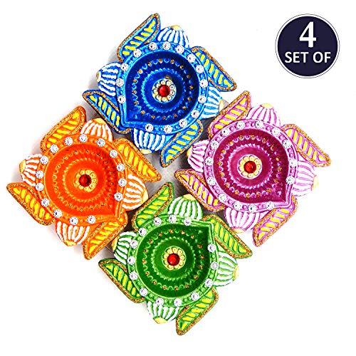 Bignay Fancy Multi Stone Diseño Diyas decorativos de terracota de barro hecho a mano con mechas de algodón, Lámparas de aceite Paquete de 4