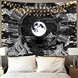 ELEGANT DESIGN: This moon and star tapestry adopts advanced HD print. Don't worry about fading. Vivid colors, crisp lines and delicate hemming, it will bring your room a more permanent harmonious decoration. AMAZING MATERIAL: This clouds tapestry is ...