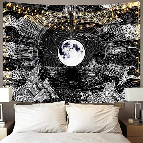 Sevenstars Moon and Star Tapestry Clouds Tapestries Black Tapestry Psychedelic Mountain Tapestry for Room