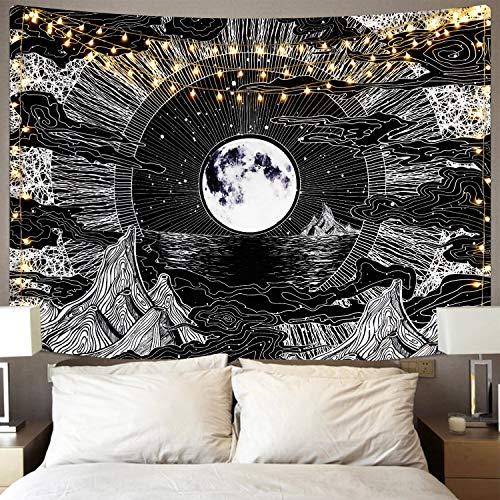 Alishomtll Mond und Stern Wandbehang Wandteppich Wolke Schwarz Weiss Psychedelic Wandtuch für Zimmer 150 x 210 cm