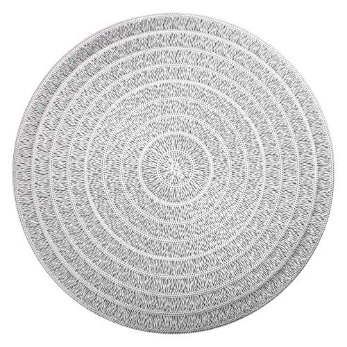 HEYOMART PVC Placemats Sets of 4 Round Place Mats Heat Resistant Washable Vinyl Table Mats for Morden Kitchen Dining Table Wedding Accent Centerpiece Placemat, Silver