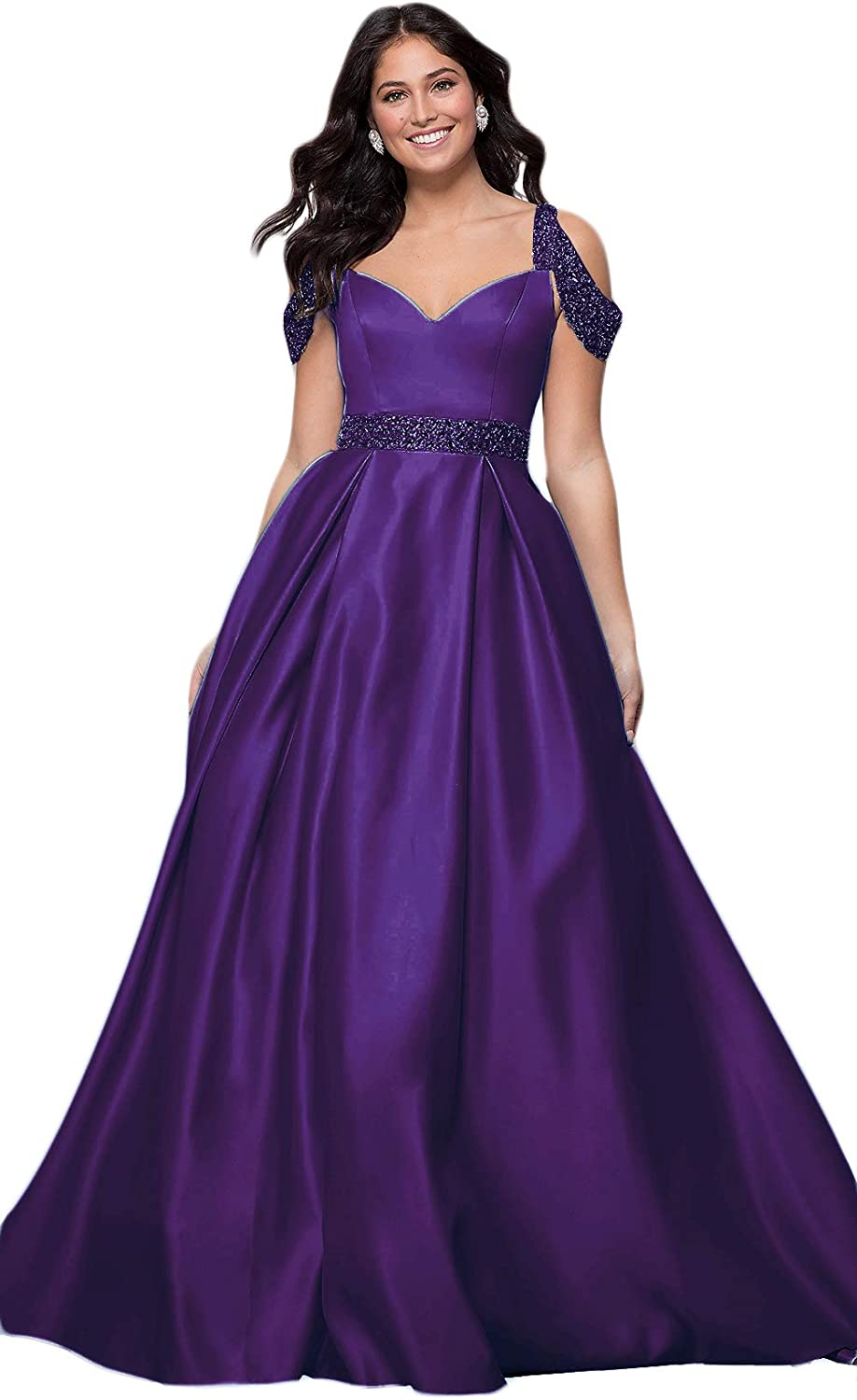 Liangjinsmkj Women's Cold Shoulder Beaded Satin Prom Dresses Long Formal Evening Party Gowns with Pockets