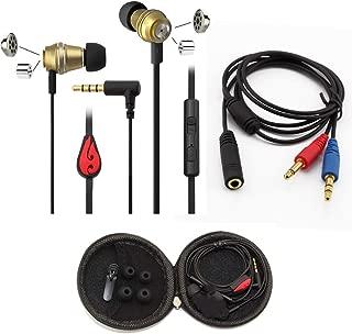 U940 Headphones Splitter Adapter and Dual Driver Earbuds for Desktop Computer Laptop PC 3.5mm Mobile