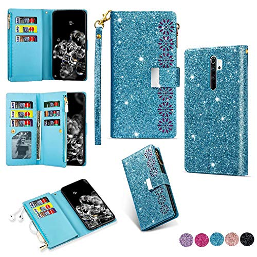 Miagon Reißverschluss Brieftasche Glitzer Hülle für Xiaomi Redmi Note 8 Pro,Flip Handytasche mit 9 Kartenfächer Handschlaufe PU Leder Magnet Bling Multifunktions,Blau