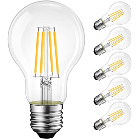 LVWIT A19 Vintage Edison LED Filament Bulb E26 Base, 3.5W (40W Equivalent), Warm White 2700K, 450 Lumens, Non-Dimmable, 3 Year Warranty, UL-Listed, Pack of 6
