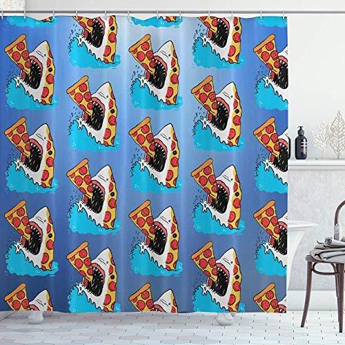 DYCBNESS Duschvorhang,Pizza Shark,Vorhang Waschbar Langhaltig Hochwertig Bad Vorhang Polyester Stoff Wasserdichtes Design,mit Haken 180x180cm
