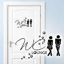 Grandora Muursticker deursticker WC Lounge + pictogram man vrouw I beige (B x H) 27 x 16 cm I badkamer toilet sticker stic...