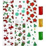 150 Piezas Bolsas de Celofán de Navidad Bolsas de Dulces Galletas Transparentes y 150 Precintos para Fiesta de Navidad