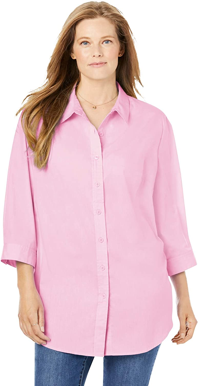 Woman Within Women's Plus Size Printed Three-Quarter Sleeve Perfect Shirt
