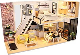 CUTEBEE Dollhouse Miniature with Furniture, DIY Dollhouse Kit Plus Dust Proof and Music Movement, 1:24 Scale Creative Room Idea(Happinese)
