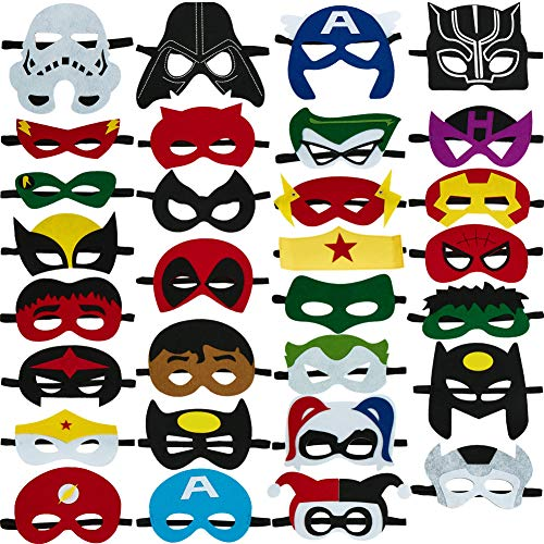 30pcs Superhero Masks for Kids Birthday Costumes