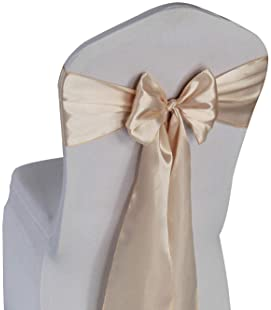 Champagne Satin Chair Sashes Ties - 50 pcs Wedding Banquet Party Event Decoration Chair Bows (Champagne, 50)